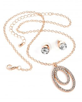 oval glitter necklace and earrings