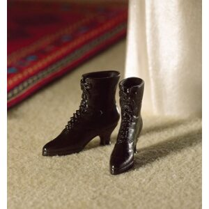 Black Victorian Style Boots 1/12th scale dolls house miniture.
