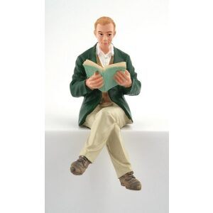Dolls house figure 1/12th scale Resin Gent Reading Book.