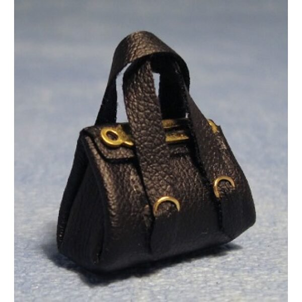 Black Handbage 1/12th scale Dolls House Miniture.