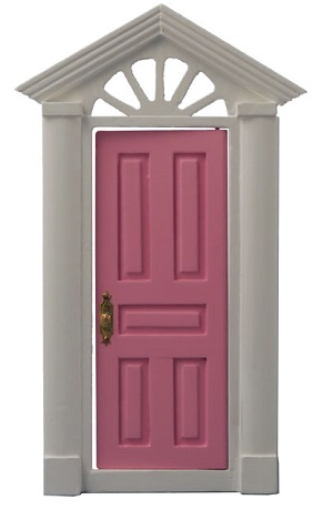 Pink Painted Door 1/12th scale miniture