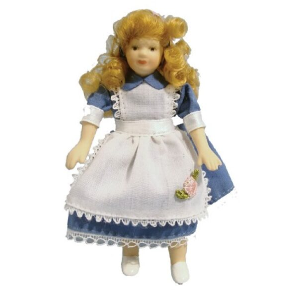 Girl in Alice dress porcelain poseable doll 1/12th scale.