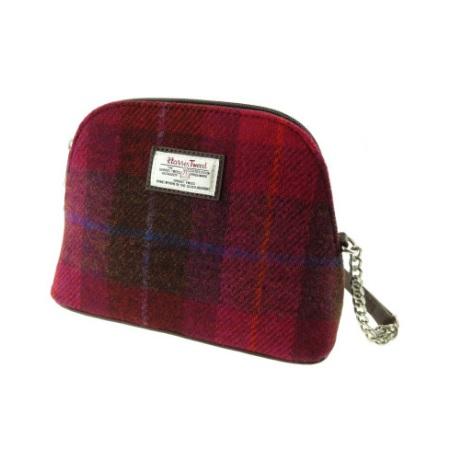 Harris Tweed Deep Pink Cross Body Long Strap Shoulder Bag