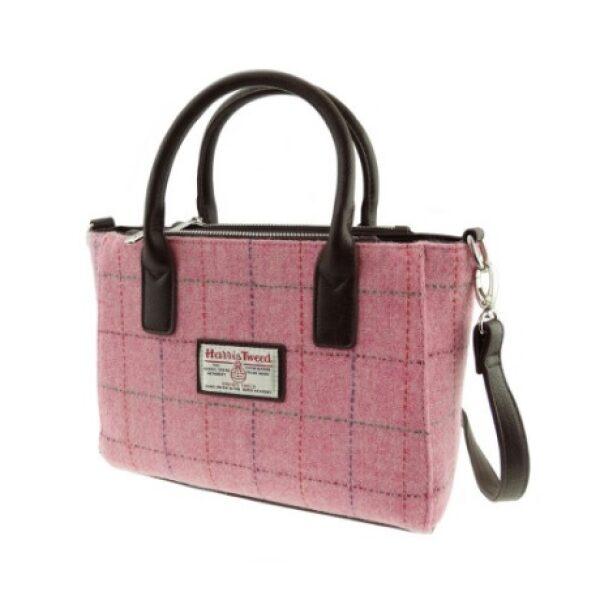 Harris Tweed Pink Small Tote Grab Bag
