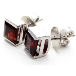 Garnet Square Gemstone Silver Stud Earrings.