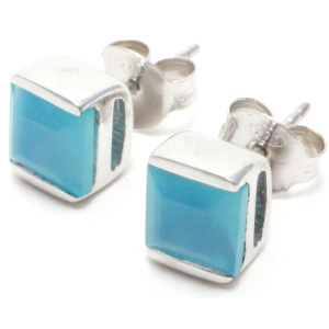 Blue Chalcedony Square silver Stud Earrings.