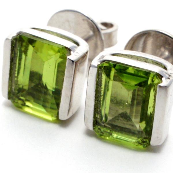 Peridot Gemstone Square Silver Stud Earrings.